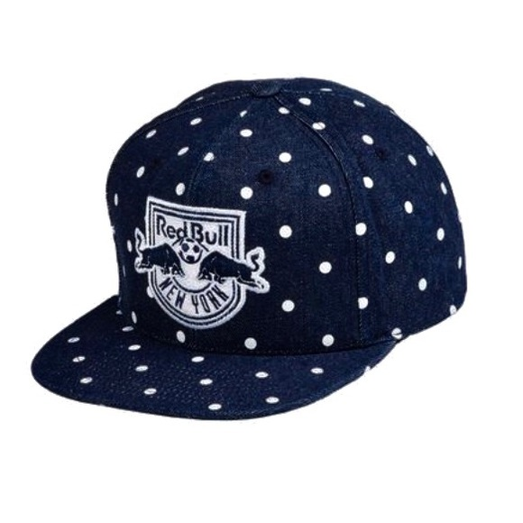 92f71fd3973 NWT New York Red Bull Denim Polka Dot Snapback Hat